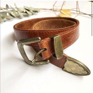 Vintage | Genuine Leather Belt Stamped Buckle